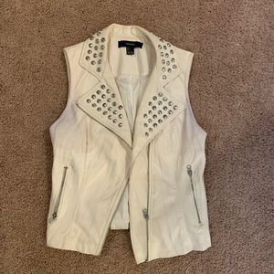 Leather studded vest